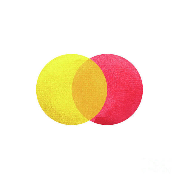 2 Primary Colors, Red Yellow Watercolor Painting Circle Round On Art Print