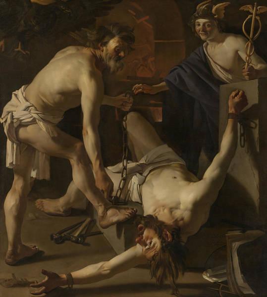 Painting - Prometheus Being Chained By Vulcan by Dirck van Baburen