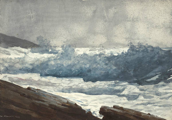 Wall Art - Drawing - Prout's Neck, Breakers by Winslow Homer