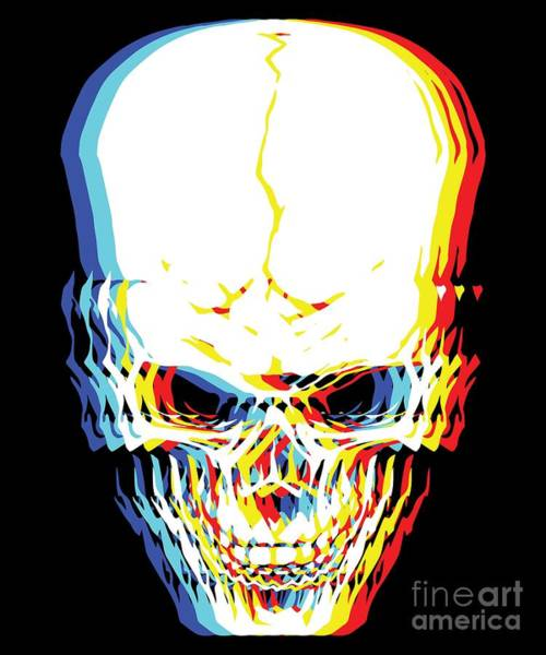 Steaks Digital Art - Psychedelic Skeleton Simple Halloween Costume Idea Scary Bone Collector Gift Skull Trippy Retro by Martin Hicks