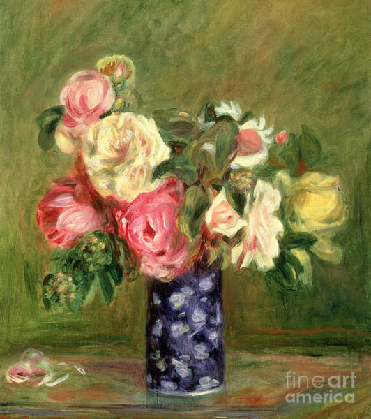 Wall Art - Painting - Roses In A Blue Vase by Pierre Auguste Renoir