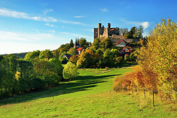 Wall Art - Photograph - Ruin Of Hanstein Castle Above The Village Of Rimbach In Autumn Bornhagen Eichsfeld Thuringia Germany by imageBROKER - Andreas Vitting