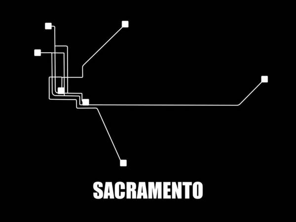 Wall Art - Digital Art - Sacramento Black Subway Map by Naxart Studio