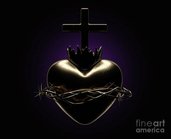 Wall Art - Digital Art - Sacred Heart Of Jesus Casting by Allan Swart