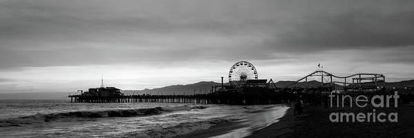 Wall Art - Photograph - Santa Monica Pier Black And White Panorama Photo by Paul Velgos