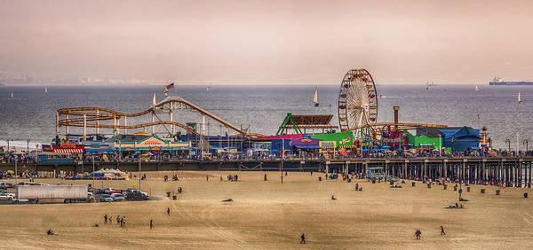 Photograph - Santa Monica Pier On Pacific Coast At Sunset by Alex Grichenko