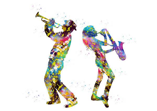 Wall Art - Digital Art - Saxophone And Trumpet Player by Erzebet S