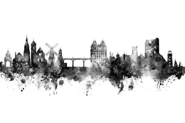 Wall Art - Digital Art - Scarborough England Skyline by Michael Tompsett