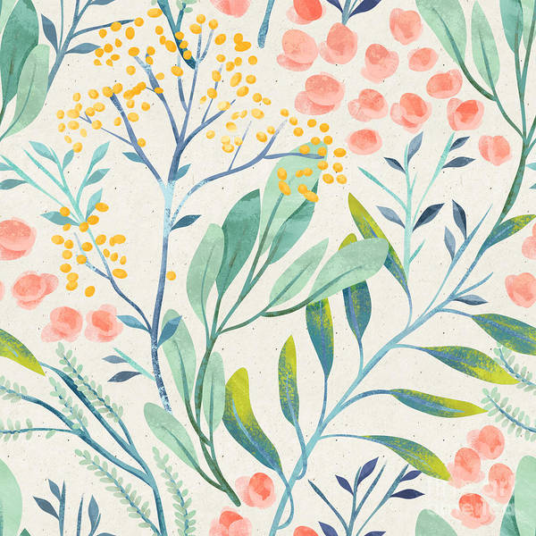 Seamless Hand Illustrated Floral Art Print