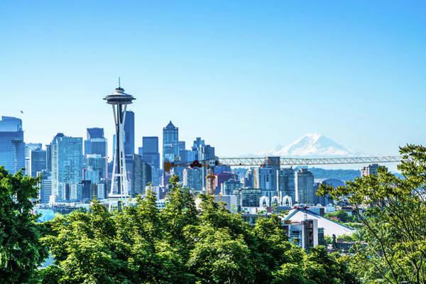 Photograph - Seattle Washington City Skyline Early Morning Sunrise by Alex Grichenko