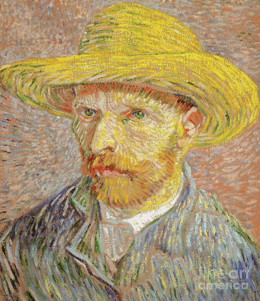 Wall Art - Painting - Self Portrait With A Straw Hat by Vincent Van Gogh