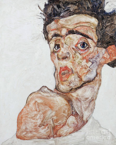 Wall Art - Painting - Self-portrait With Raised Bare Shoulder, 1912 by Egon Schiele