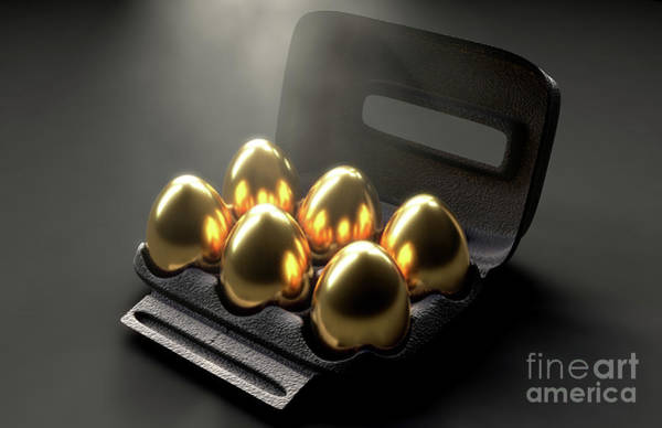 Wall Art - Digital Art - Six Golden Eggs In An Egg Carton by Allan Swart