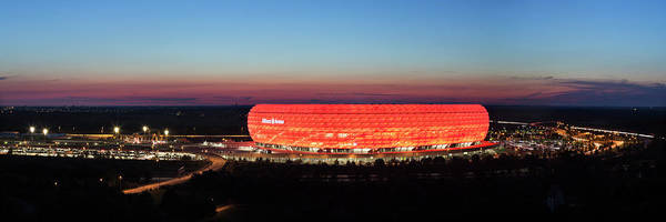 Wall Art - Photograph - Soccer Stadium Lit Up At Dusk, Allianz by Panoramic Images