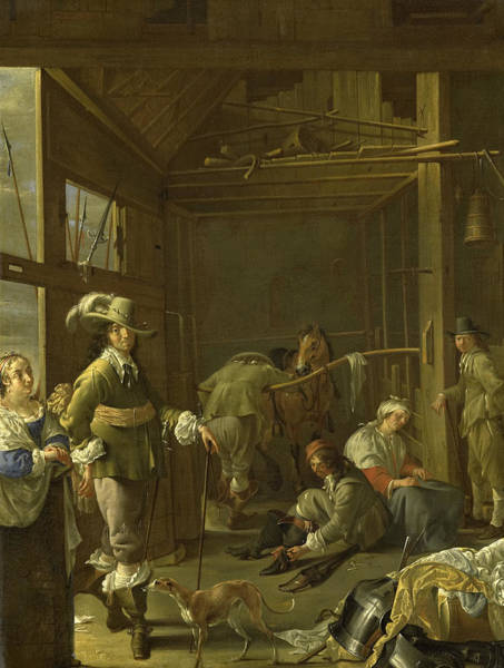 Wall Art - Painting - Soldiers In A Stable by Jacob Duck