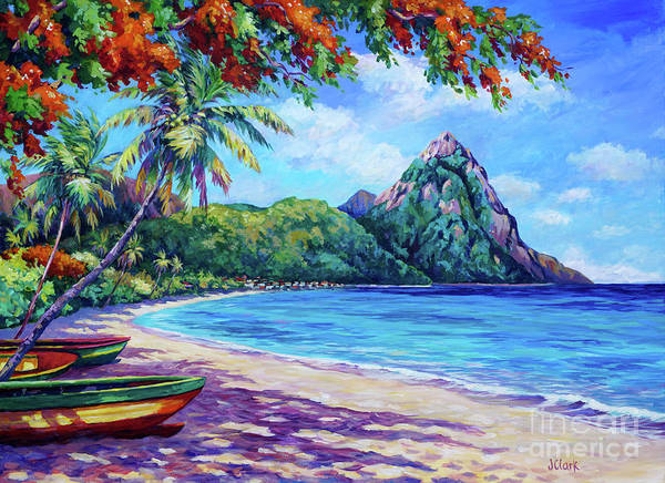 Wall Art - Painting - Soufriere Bay St Lucia by John Clark