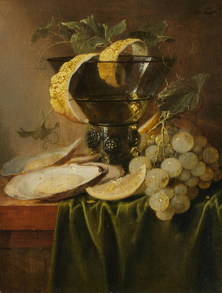 Wall Art - Painting - Still Life With A Glass And Oysters by Jan Davidsz de Heem