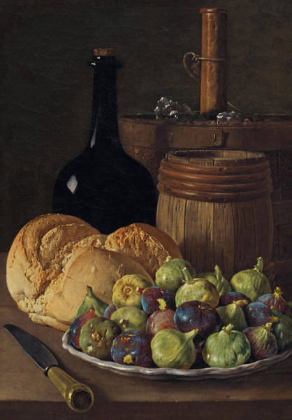 Painting - Still Life With Figs And Bread by Luis Melendez