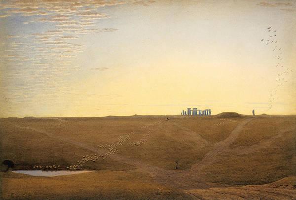 Twilight Drawing - Stonehenge - Twilight by William Turner of Oxford