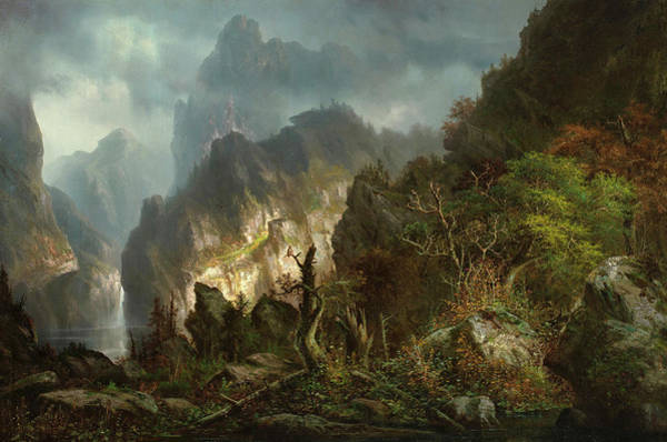 Wall Art - Painting - Storm In The Mountains by Hermann Herzog