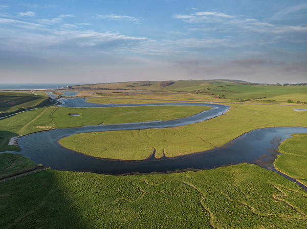 Wall Art - Photograph - Stunning Aerial Drone Landscape Image Of Meandering River Throug by Matthew Gibson