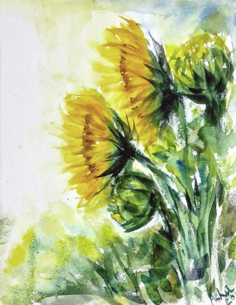 Wall Art - Painting - Sunflowers by Asha Sudhaker Shenoy