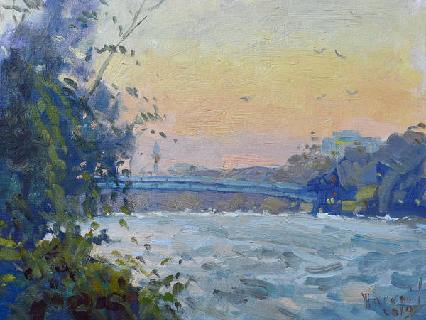 Wall Art - Painting - Sunset At Goat Island  by Ylli Haruni