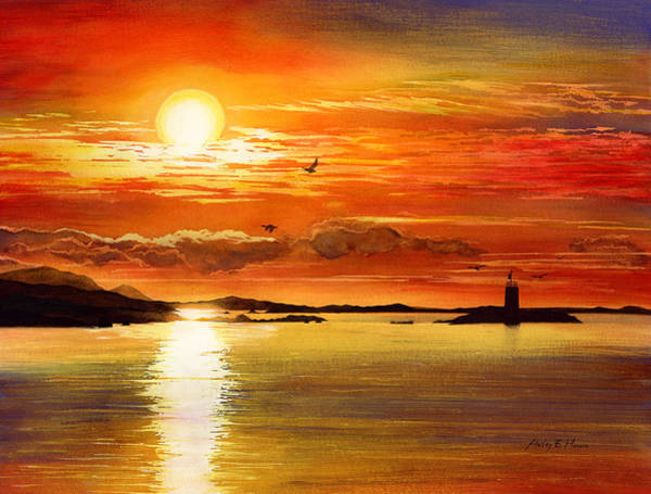 Tranquility Painting - Sunset Lake by Hailey E Herrera