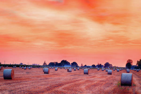 Wall Art - Photograph - Sunset On Hay Bales by Gone With The Wind
