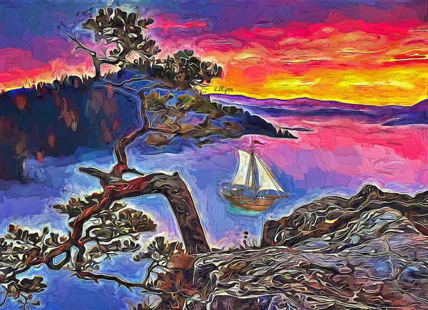 Wall Art - Painting - Sunset On River by Nenad Vasic