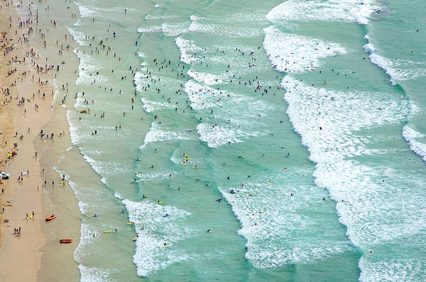 Water Photograph - Swimmers And Surfers On Beach, Aerial by Jason Hawkes