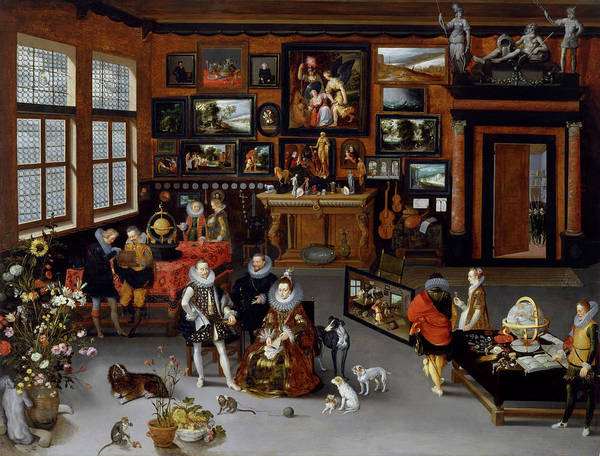 Painting - The Archdukes Albert And Isabella Visiting A Collector's Cabinet by Jan Brueghel the Elder