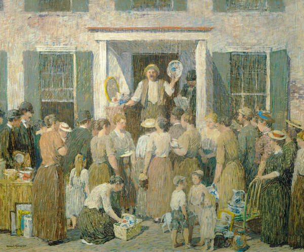 Painting - The Auction by Robert Spencer