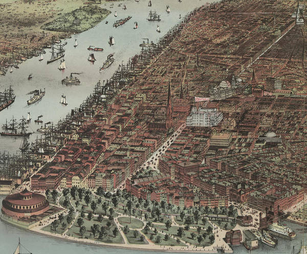 Painting - The City Of New York , 1883  Detail by Currier And Ives