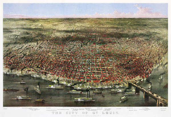 Wall Art - Painting - The City Of St. Louis, 1874 by Currier and Ives