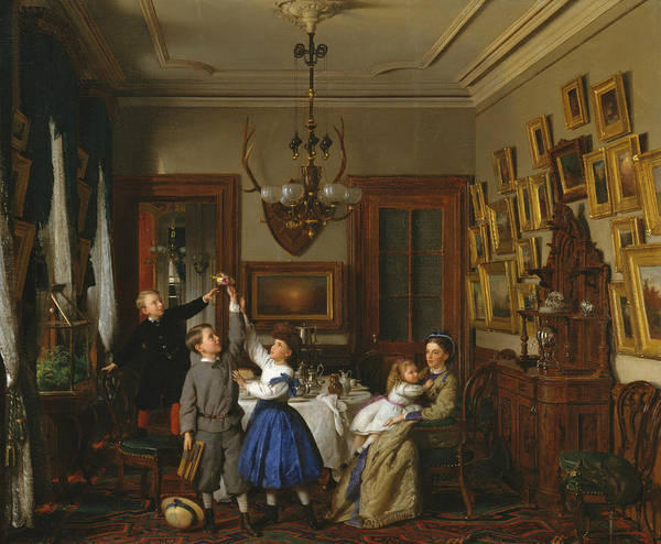 Wall Art - Painting - The Contest For The Bouquet - The Family Of Robert Gordon In Their New York Dining-room by Seymour Joseph Guy
