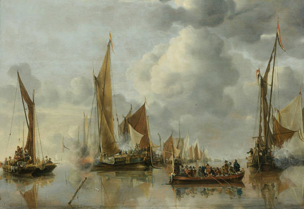 Painting - The Home Fleet Saluting The State Barge by Jan van de Cappelle