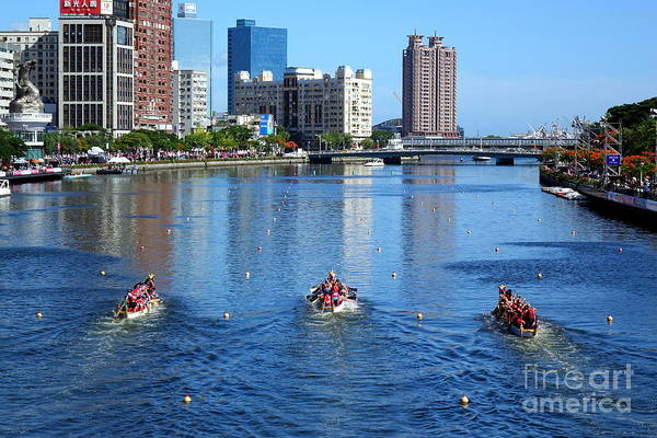 Photograph - The Love River During The Dragon Boat Races by Yali Shi