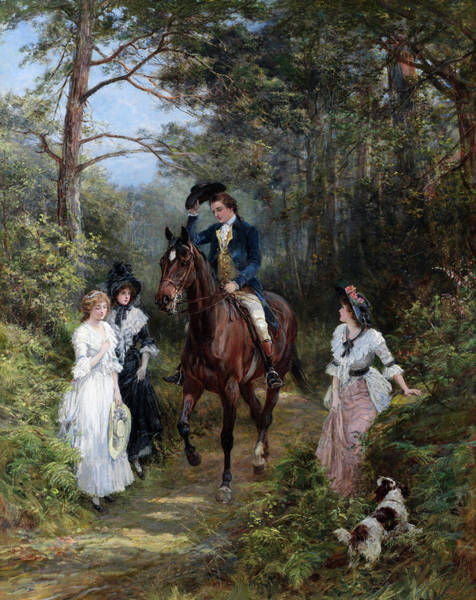 Animals In Suits Wall Art - Painting - The Meeting In The Forest by Heywood Hardy