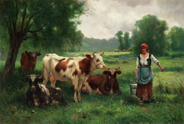 Milk Painting - The Milkmaid by Julien Dupre