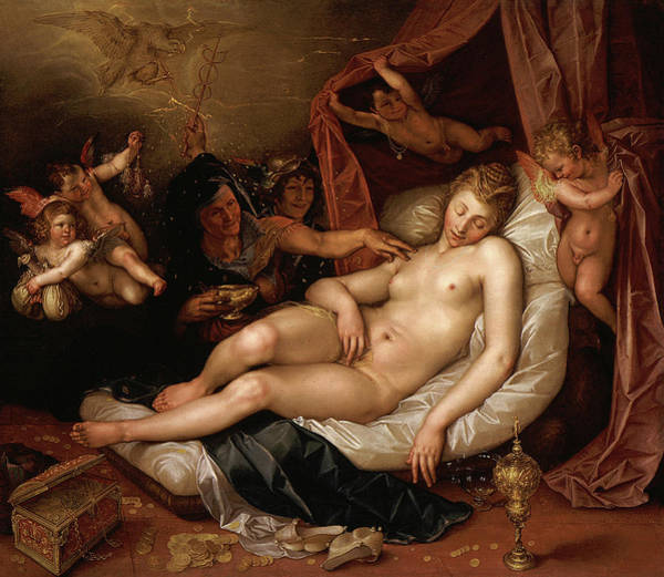 Wall Art - Painting - The Sleeping Danae Being Prepared To Receive Jupiter by Hendrik Goltzius
