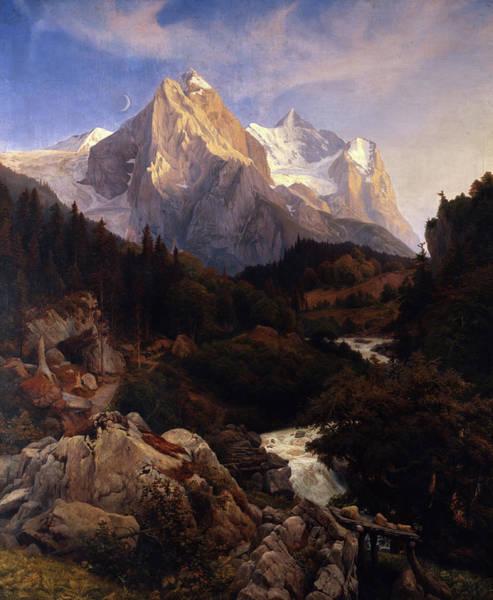 Wall Art - Painting - The Wetterhorn by Johann Wilhelm Schirmer