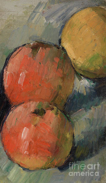 Wall Art - Painting - Three Apples by Paul Cezanne