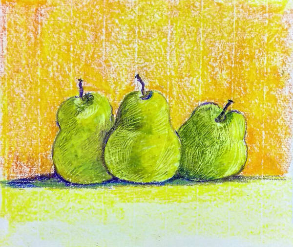 Wall Art - Drawing - Three Pears by Asha Sudhaker Shenoy