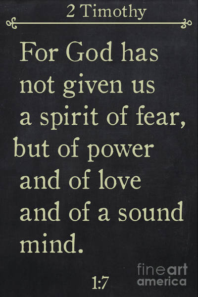Painting - 2 Timothy 1 7 - Inspirational Quotes Wall Art Collection by Mark Lawrence