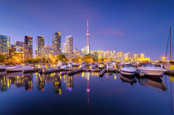 Cn Tower Wall Art - Photograph - Toronto, Marina Quay West, Skyline With by Alan Copson