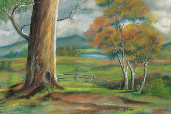 Pastel - Tree In The Meadow by Val Stokes