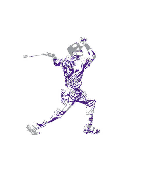 Wall Art - Mixed Media - Trevor Story Colorado Rockies Pixel Art 11 by Joe Hamilton