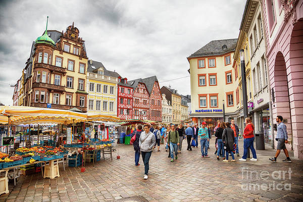 Photograph - Trier, Germany,  People By Market Day by Ariadna De Raadt