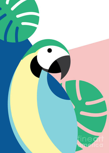 Wall Art - Digital Art - Tropical Bird In Abstract Geometric by Radiocat